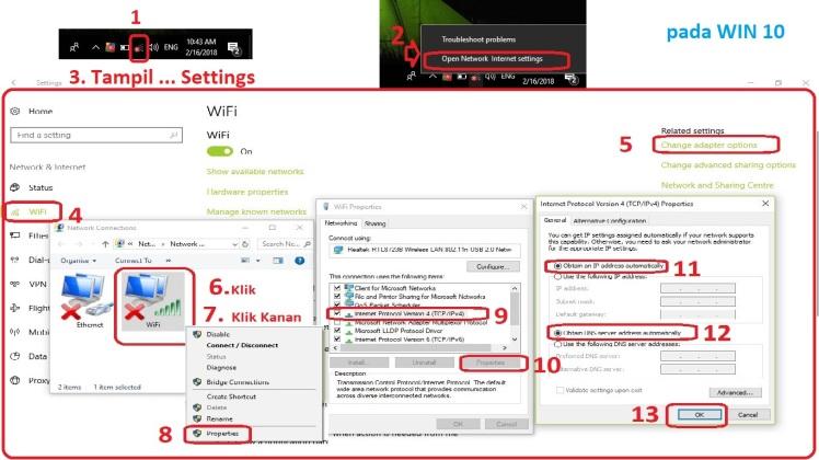 change adapter - kanan Wifi - IPv4 - obtain